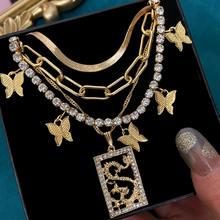 Flatfoosie Boho katmanlı kelebek kristal zincir kolye kadınlar için altın renk ejderha hayvan kolye kolye yaka takı