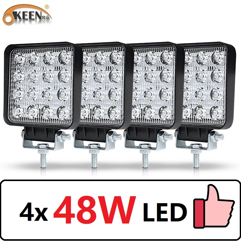 OKEEN Worklight Offroad Led-Tractor-Headlight Led-Bar Truck Led 4x4 48W 4pcs Car Interior