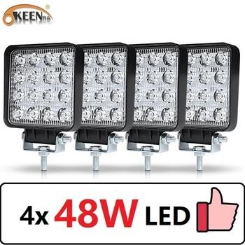 OKEEN 4pcs Car LED Bar Worklight 48W Offroad Work Light 12V Light Interior LED 4x4 LED Tractor Headlight Spotlight for Truck ATV 1