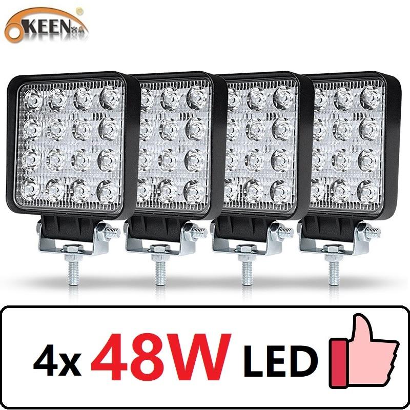 OKEEN 4 sztuk samochodów listwa LED reflektor roboczy 48W Offroad światło robocze 12V światło wnętrze LED 4x4 LED ciągnik reflektor reflektor dla ciężarówki ATV