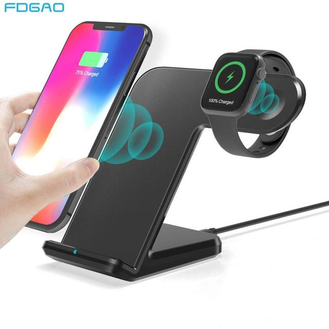 2 in 1 Wireless Charger Dock Station For iPhone 11 XS XR X 8 10W Fast Qi Charging Stand for Apple Watch Series iWatch 5 4/3/2