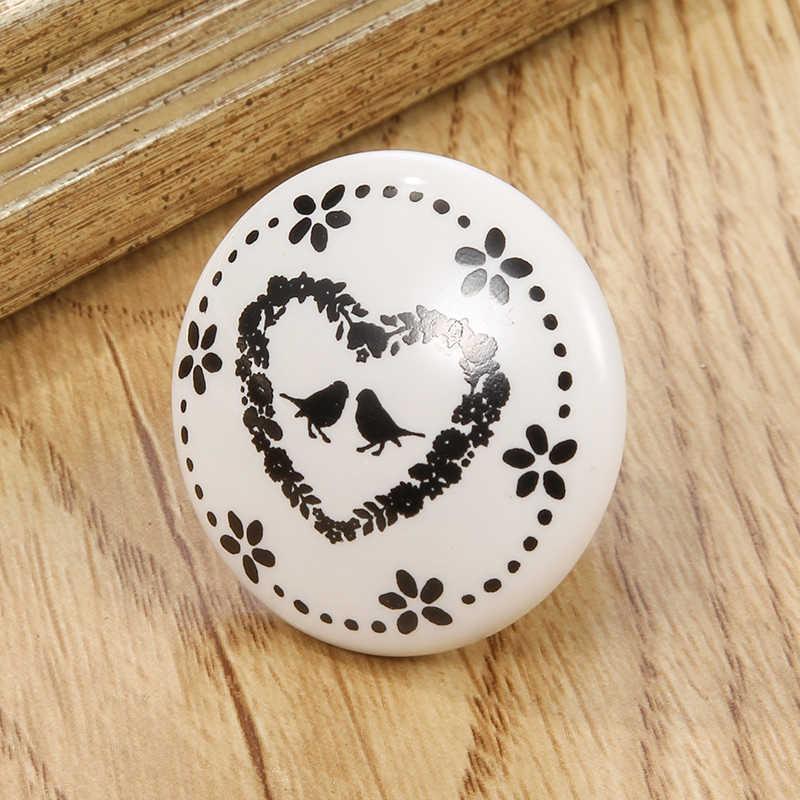 1 Pastoralism Witte Keramische Knop, ster Bloem Klok Afdrukken Keukenkast Kast Deurknop En Handles Kids Lade Knop Pulls