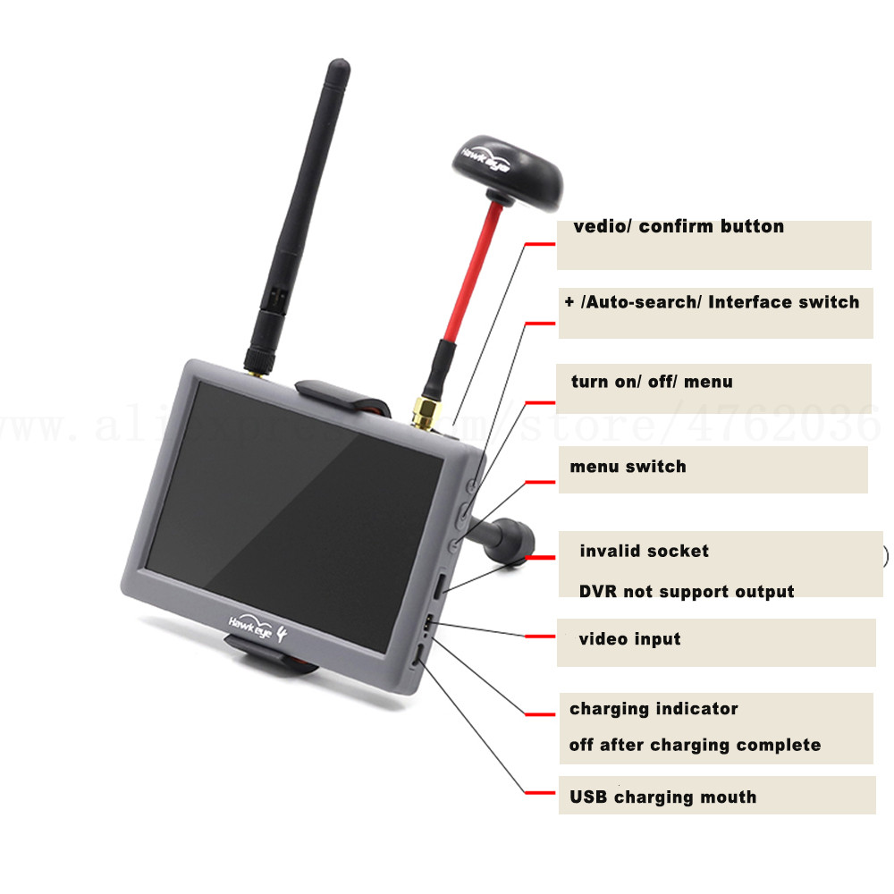 Hawkeye Little Pilot Ⅳ 4 Built In DVR/III 3 Dual Receiver 5 Inch 5.8G 48CH FPV HD Monitor Aerial FPV Display Screen For Drone