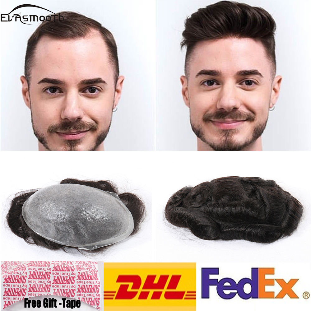 Super Thin Skin Men Toupee Strong Knot Hair Replacement System Indian Remy Human Hair Men Wig
