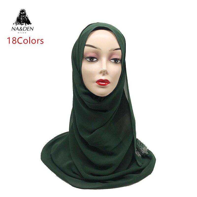 Fashion Luxury Hot Gold Diamonds Sides Shawl Chiffon Muslim Wraps New Bandana Foulard Hijab Women Plain Solid Scarf 10pcs/lot
