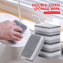 5Pcs/Set Highly efficient Scouring Pad Dish Cloth Cleaning Brush Kitchen Rags Strong Decontamination Dish Towels Household Hot