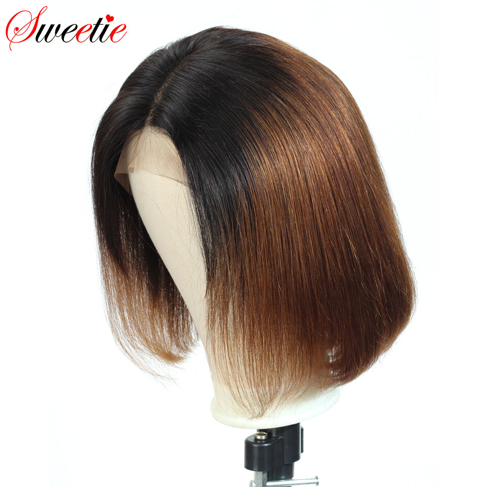 Image 4 - Sweetie  Short Bob Lace Front Wigs 1b/30 Color Ombre Lace Front Human Hair Wigs For Women Remy Peruvian Straight Human Hair Wigs-in Human Hair Lace Wigs from Hair Extensions & Wigs