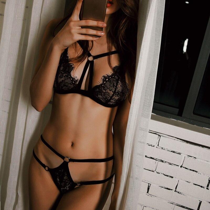 S-3XL Porn Sex Babydoll Chemise Transparent Lingerie Sexy Hot Erotic Costumes Push Up Bra Transparent Panties PlusSize Underwear