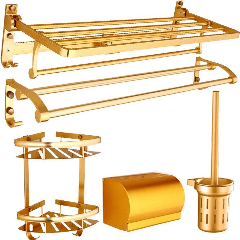 New Style Luxury Gold Color Towel Rack Sanitary Ware Hardware Pendant Set Alumimum Bathroom Storage Shelf