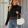 Unireal 2021 Summer Women White Lace Blouse Shirt Long Sleeve Vintage Cute Ruffle Blouse Sexy Tops 6