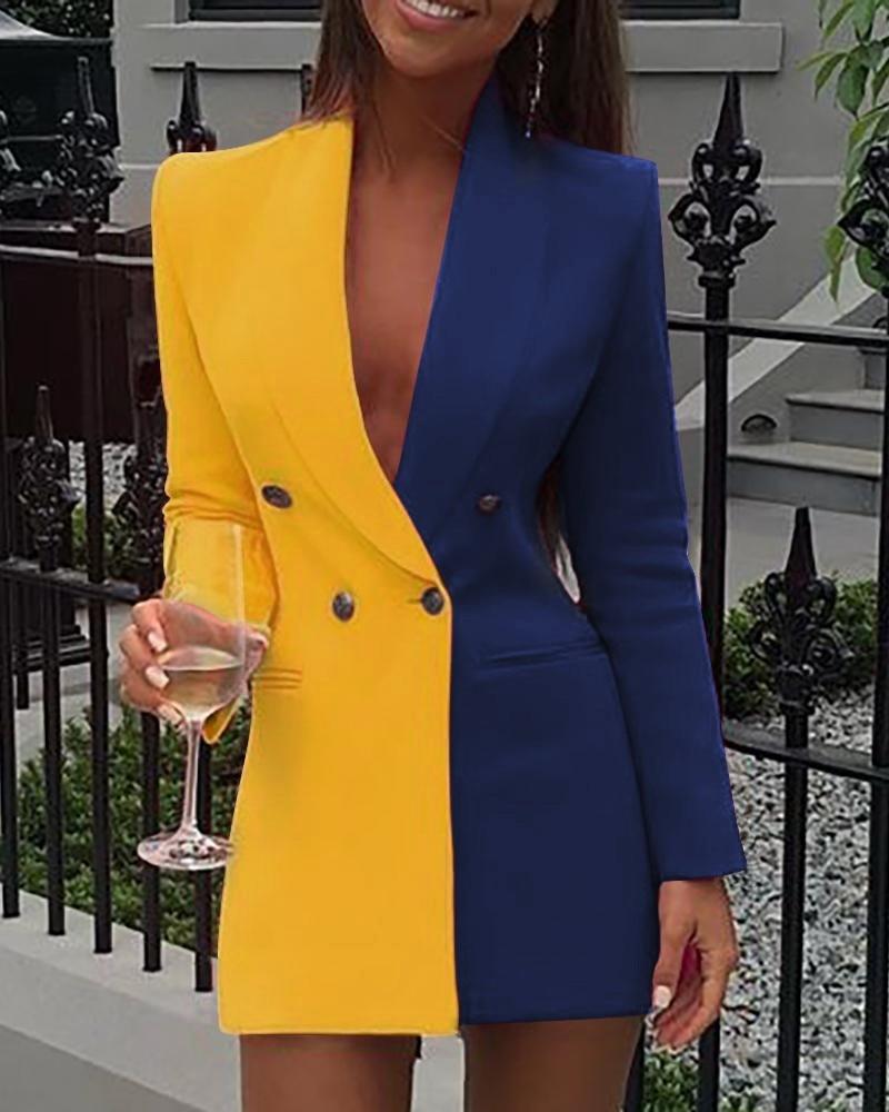 Women Blazer Dress Colorblock Sequins Long Sleeve Blazer Dress Women Dress Colorblock Patchwork Long Sleeve Button Vestidos