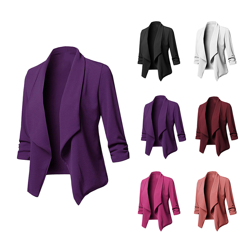 Fashion Women Casual Suit Coat Blazer Pleated Long Sleeve Jacket Outwear Ladies Slim Blazer Suit Long-sleeved Pleated Solid Suit