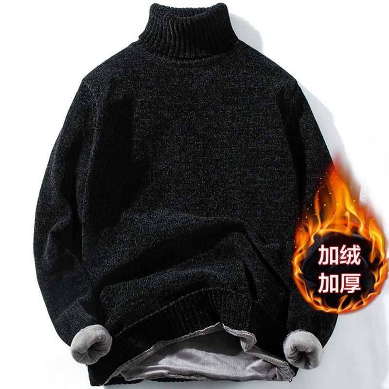 Men High Neck Plus Cashmere Sweater Male Unlined Upper Garment Winter Clothes Warm Cotton Turtleneck Pullover Streetwear