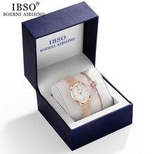 IBSO Women Quartz Watch Set Crystal Design Bracelet Watch Se