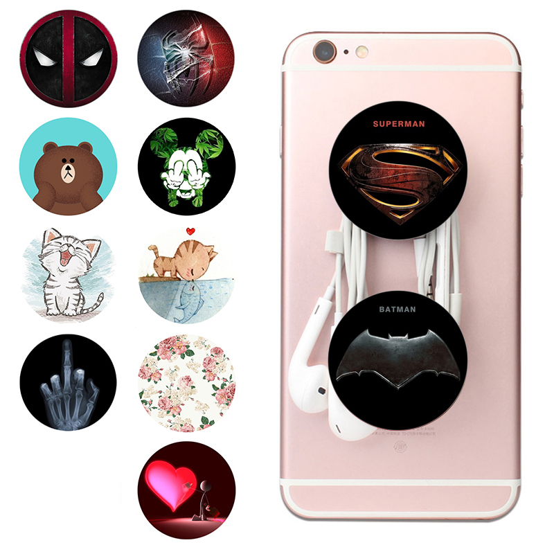 Popsoket Air Pops Round Painting Phone Holder Expanding Stand Grip Pocket Socket Mount Rotatable Stretch Finger Ring попсокет