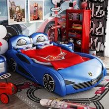 Cama de madeira maciça das crianças menino cama de solteiro 1.5 com cerca menino dos desenhos animados carro cama tomada fábrica