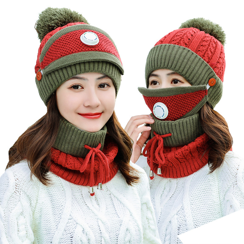 New Style Hat+ Scarf+Mask/Set Autumn Winter Women Thicken Velvet Hat And Scarf Knitted Woolen Mask Windproof Keep Warm Hat Set