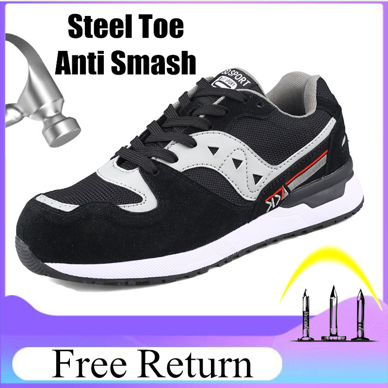 Safety Shoes Men Indestructible Mesh Sneakers Air-Permeable Smash Safety Shoes Steel Toe Breathable Military Shoes For Boys F29