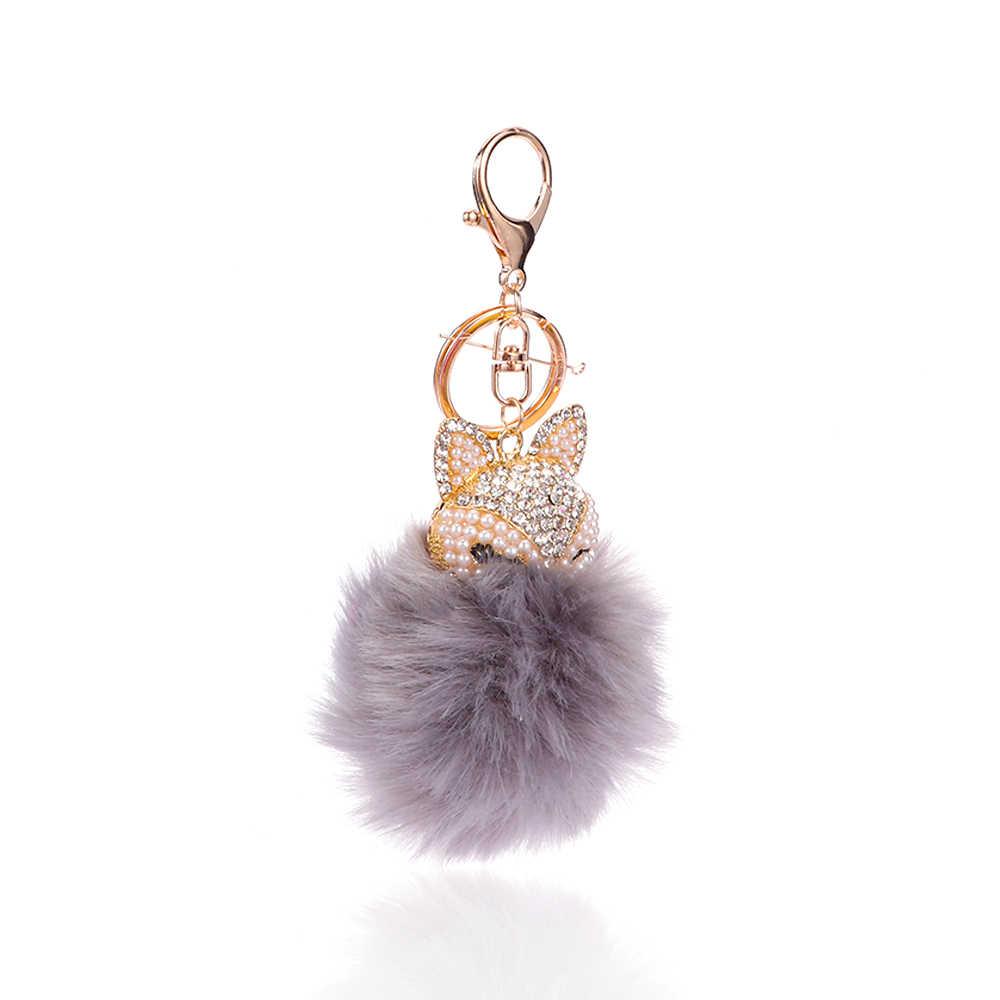 น่ารักฟ็อกซ์ Pompom พวงกุญแจ Multicolor Shiny หวานกระเป๋าสตางค์พวงกุญแจกระเป๋าถือเครื่องประดับจี้ผู้หญิงปาร์ตี้จัดเลี้ยงเครื่องประดับ