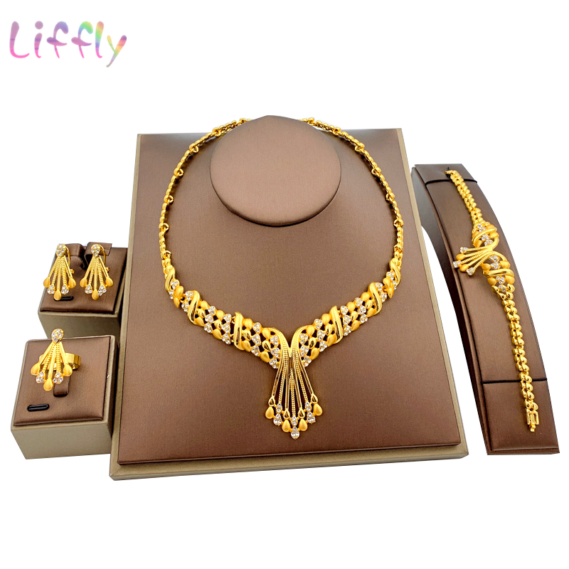 Liffly African Dubai Gold Bridal jewelry sets for Women Bracelet Earrings indian Wedding Party Crystal Ring Jewelry Sets