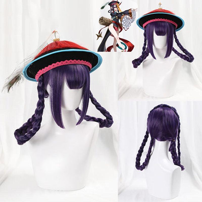 Fate Grand Order Shuten Douji Cosplay Wigs 105cm Long Heat Resistant Synthetic Hair Woman Cheongsam Zombie Cosplay Costume Dress
