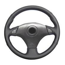 Black Artificial Leather Handsew No-slip Car Steering Wheel Cover for Toyota RAV4 Celica MR2 MR-S Supra Caldina Lexus IS 200 300