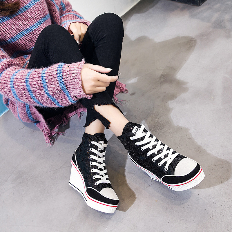 Women High Top Sneakers Sequins Glitter Shoes Woman Spring Lace-Up Shoes Outdoor Wedge Sneakers Platform Thick Bottom Footwear