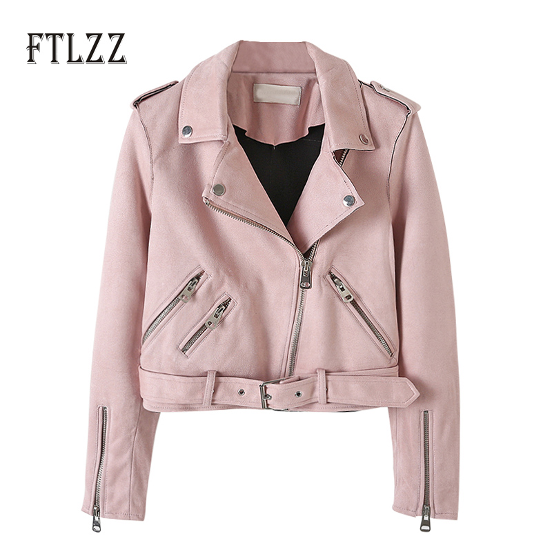2019 New Spring Autumn   Leather   Jacket Women Long Sleeve Zipper Red   Suede   Coats Ladies Short Biker Moto Outwear Jaqueta Couro