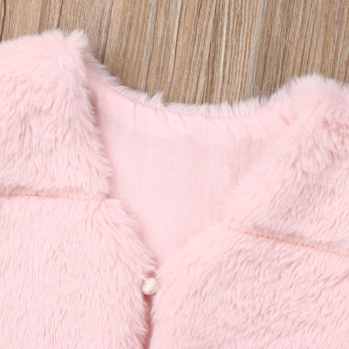 Pudcoco 2019 nova queda inverno moda crianças do bebê meninas do falso colete de pele novas meninas quente outono soild rosa casaco outwear