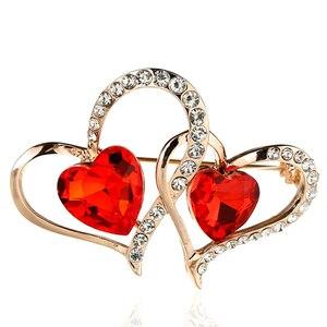 Двойная любовь кристалл ювелирные изделия подарок на день Святого Валентина модная брошь женская одежда аксессуары булавки и Броши Стразы