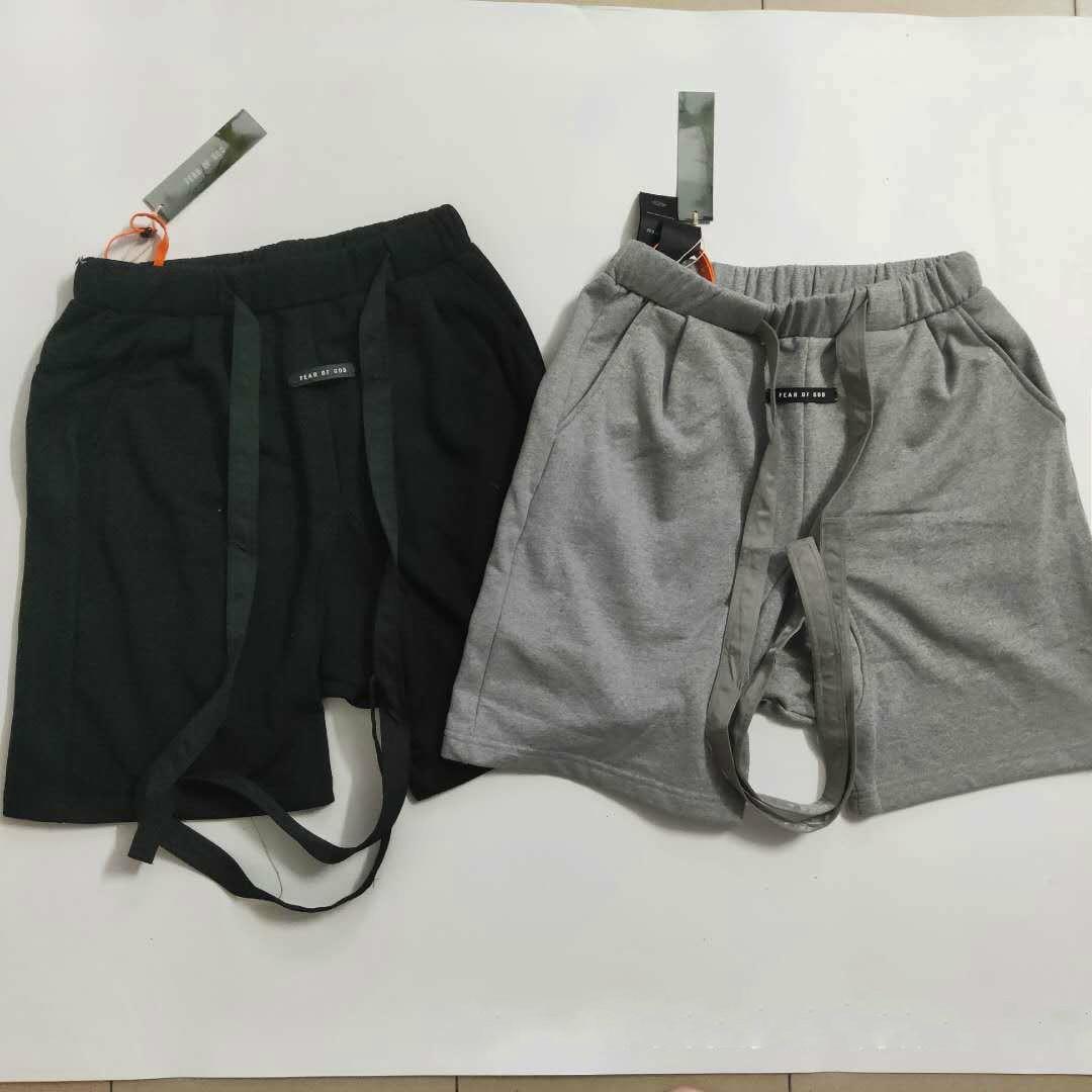 19ss New Arrival FOG 6th Ribbon Drawstring Shorts Casual Men's Shorts Hip Hop Oversize Unisex Christmas Shorts Streetwear