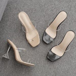 Image 5 - Kcenid été nouveau PVC gelée pantoufles femmes chaussures à bout ouvert sexy talons hauts cristal femmes transparent talon sandales diapositives pompes