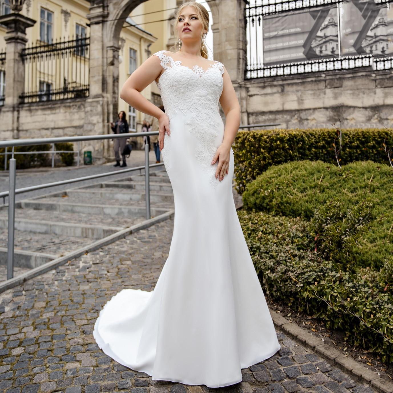 Mermaid Custom Made Plus Size Chiffon Wedding Dress Lace Appliques Illusion Tulle Back Bride Dress For Big Size Women