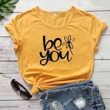У вас есть возможность подсолнухи Графический милый чистый хлопок, свободный покрой, широкие Женская мода эстетику camisetas футболка подарки д...