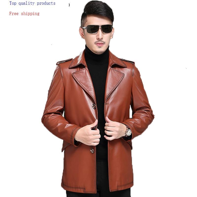 Genuine Leather Jacket Men Spring Real Cow Leather Coat Windbreaker Long Cowhide Leather Jacket And Coat 07-9979 KJ1384