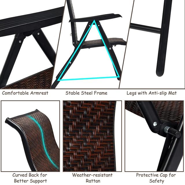 2 Piece Patio Rattan Folding Reclining Chair  4