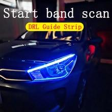 Led flexível para coche, luces diurnas drl, intermitente, resistência al agua, muy fina, tubo suave, amarillo, blanco