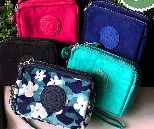 2020 Mini Korean Color Canvas Canvas Clutch Fabric Coin Purse Female Three-layer Zipper Card Certificate Key Coin Bag Trumpet