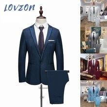 LOVZON 2021 New Hot Male Wedding Prom Suit Green Slim Fit Tuxedo Men Formal Business Work Wear Suits 2Pcs Set (Jacket+Pants)
