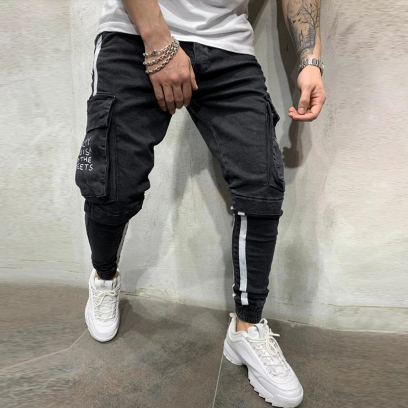 Europe And America New Style Men Printed Words Elasticity Skinny Pants Export AliExpress Foot Mouth Rubber Band Black And White