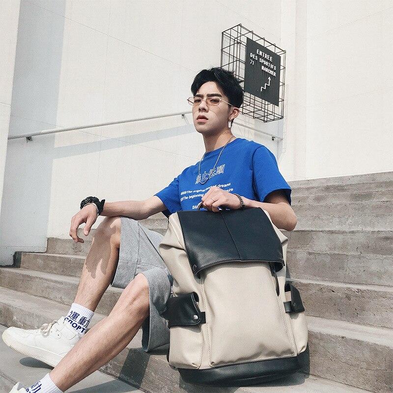 Sac à dos pour hommes de haute qualité pu riz blanc mode tendance ordinateur étudiant sac 2019 nouveau JIULIN