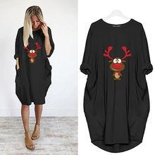Рождественское миди платье для женщин kawaii с принтом северного