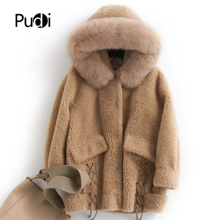 PUDI B181097 Women's Winter Warm Real Wool Fur Jacket With Hood Fox Collar Leisure  Girl Coat Lady Jacket Over Size Parka