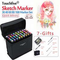 TouchFIVE 30/40/60/80/168 цветные маркеры манга маркеры для рисования ручка на спиртовой основе эскиз масляная двойная Кисть ручка принадлежности для ...
