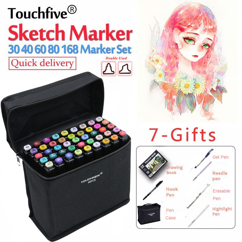 TouchFIVE 30/40/60/80/168 Color Markers Manga Drawing Markers Pen Alcohol Based Sketch Oily Dual Brush Pen Art Supplies
