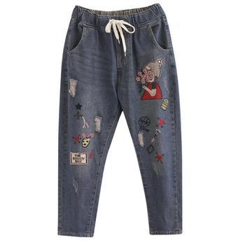 New autumn spring women Flowers embroidery stitch hole jeans female elastic waist casual harem pants denim pants r2096 фото