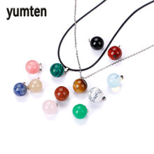 Natural Stone Round Pendants Necklace Fashion Accessories Robijn Sapphire Spinelcharm Maquillaje Dijes Breloque 12PCS(China)