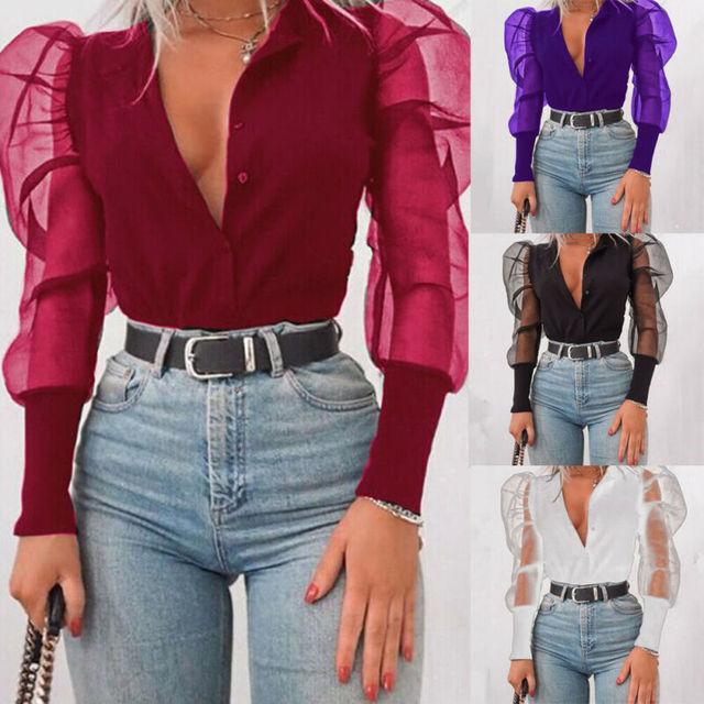 Meihuida femmes col en v Blouses Tulle à manches longues chemise solide tout-correspondant bureau dame élégant hauts