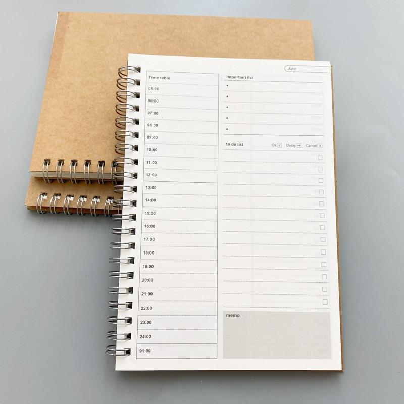New Notebooks Agendas Planner Diary Weekly Spiral Organizer Libretas A5 Note Books Monthly Kraft Paper Schedule Filofa