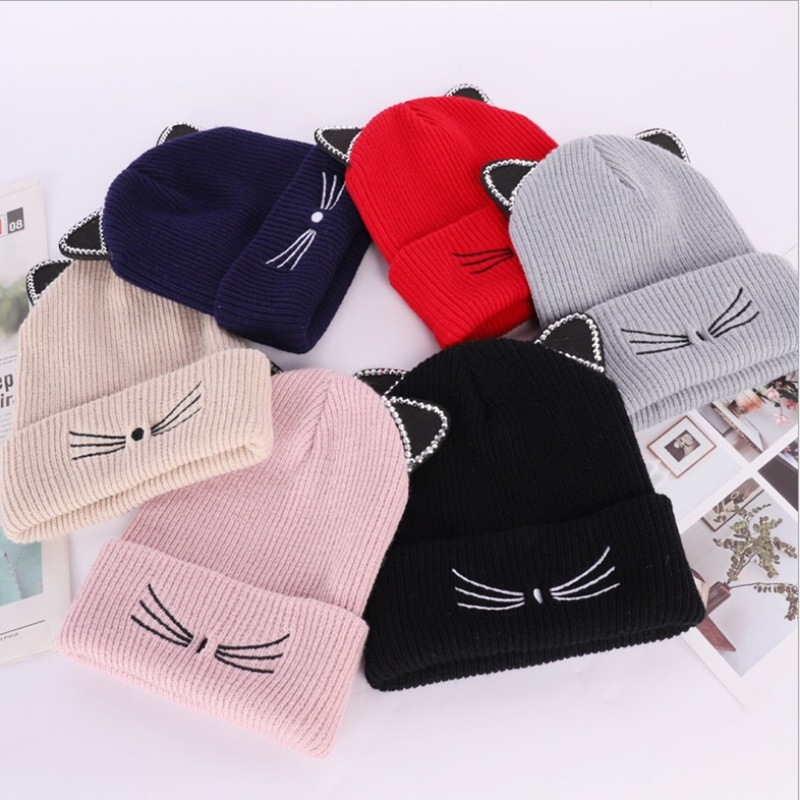 WZCX Cat Ears Embroidery Rhinestone Inlay Skullies Beanies Crimping Casual Unisex Korean Version Ski Cap Winter Hat